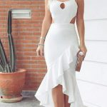 Fırfırlı Elbise Beyaz Uzun İp Askılı Önden Yırtmaçlı