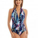 Bikini Modelleri Lacivert Kalın Askılı V Yakalı Desenli