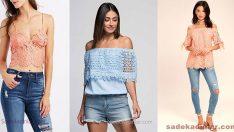 2018 Dantel Bluz Kombinleri, Omzu Açık Şık Bluz Modelleri