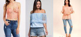 Dantel Bluz Kombinleri, Omzu Açık Şık Bluz Modelleri