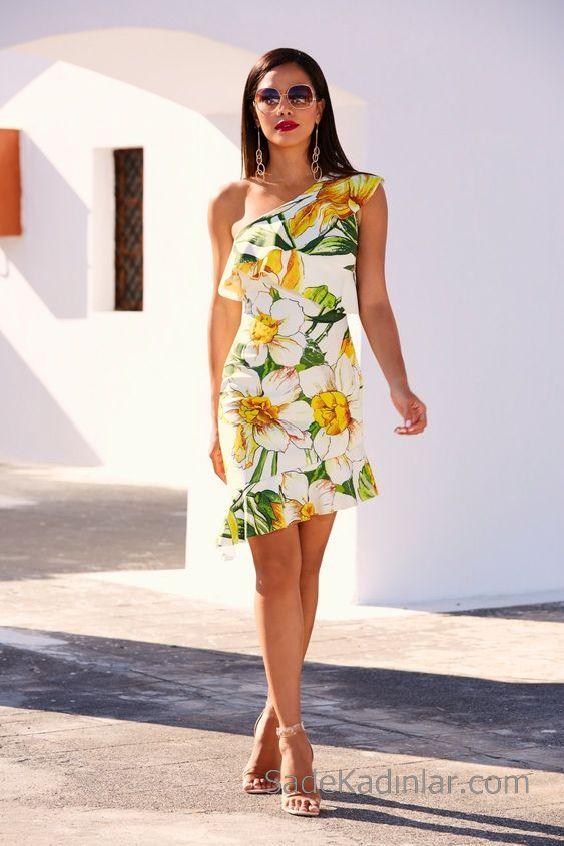 Desenli Elbise Modelleri Beyaz Kısa Tek Omzu Açık Fırfırlı Desenli