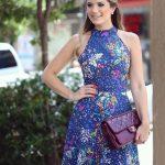 Desenli Elbise Modelleri Lacivert Kısa Halter Yaka Çiçek Desenli