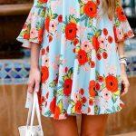 Desenli Elbise Modelleri Mavi Kısa Yuvarlak Yaka Fırfırlı Yetim Kol Desenli