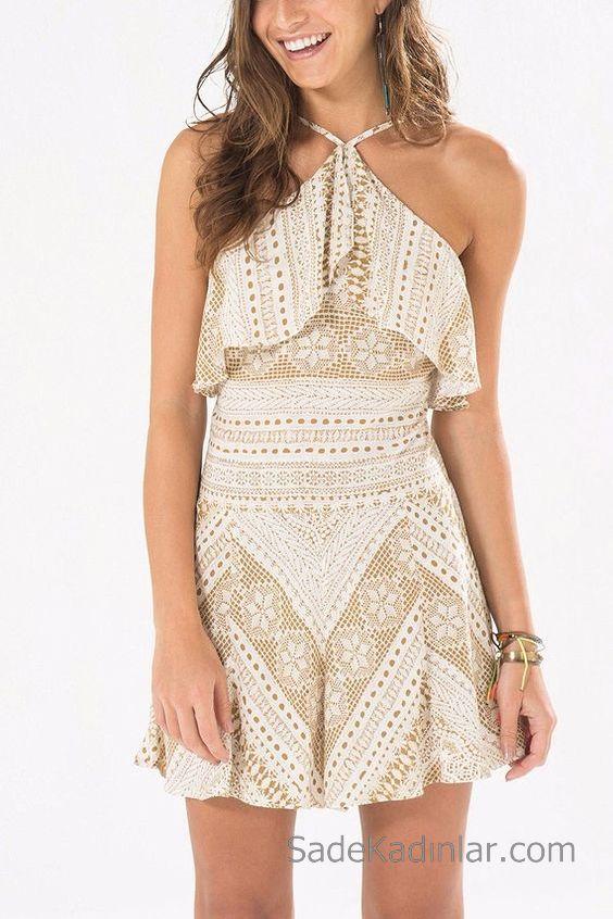 Desenli Elbise Modelleri Vizon Kısa Halter Yaka Fırfırlı Desenli