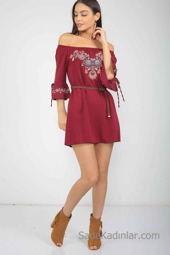 Günlük Elbise Modelleri Bordo Kısa Omzu Açık Düşük Kol Nakış İşlemeli Kemerli