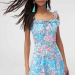 2019 Günlük Elbise Modelleri Mavi Kısa İp Askılı Çiçek Desenli