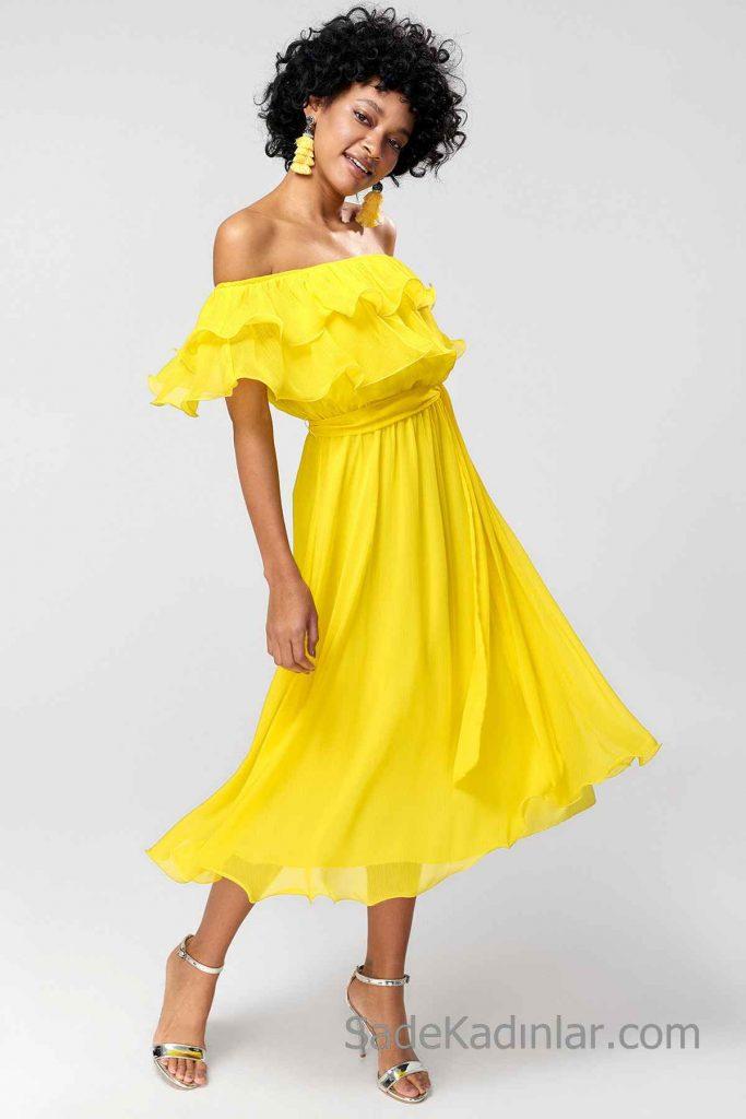 Günlük Elbise Modelleri Sarı Midi Omzu Açık Karmen YAka Fırfırlı