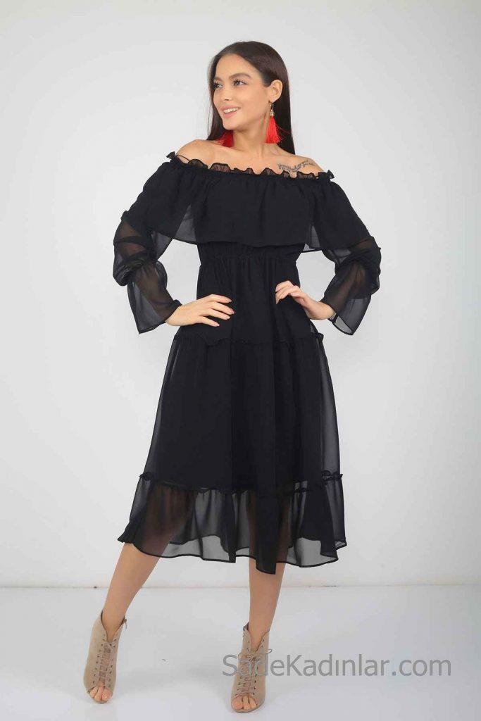Günlük Elbise Modelleri Siyah Midi Omzu Açık Şifon Uzun Kollu Fırfır Detaylı