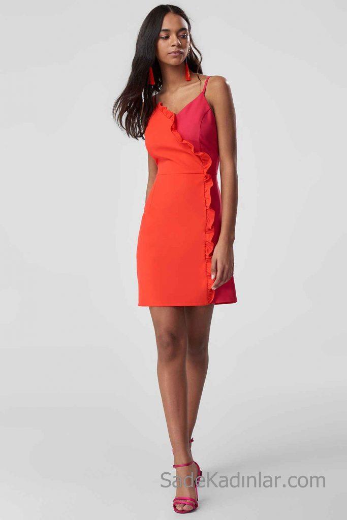Günlük Elbise Modelleri Turuncu ve Fuşya Kısa Askılı Fırfırlı