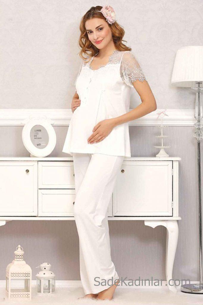 Lohusa Pijama Takımı Beyaz Kısa Dantel Kollu Kalp Yakalı