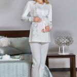 Lohusa Pijama Takımı Beyaz Uzun Kollu Yuvarlak Yaka Kurdela Fiyonklu Düğmeli