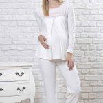 Lohusa Pijama Takımı Beyaz Uzun Kollu Yuvarlak Yaka Pitikare Desen Detaylı