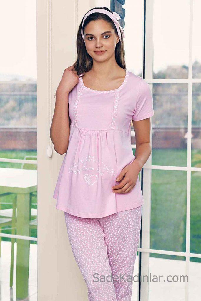 Lohusa Pijama Takımı Pembe Kısa Kollu Geniş Yakalı Desenli
