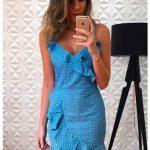 Fırfırlı Elbise Mavi Kısa İp Askılı V Yakalı Puantiyeli