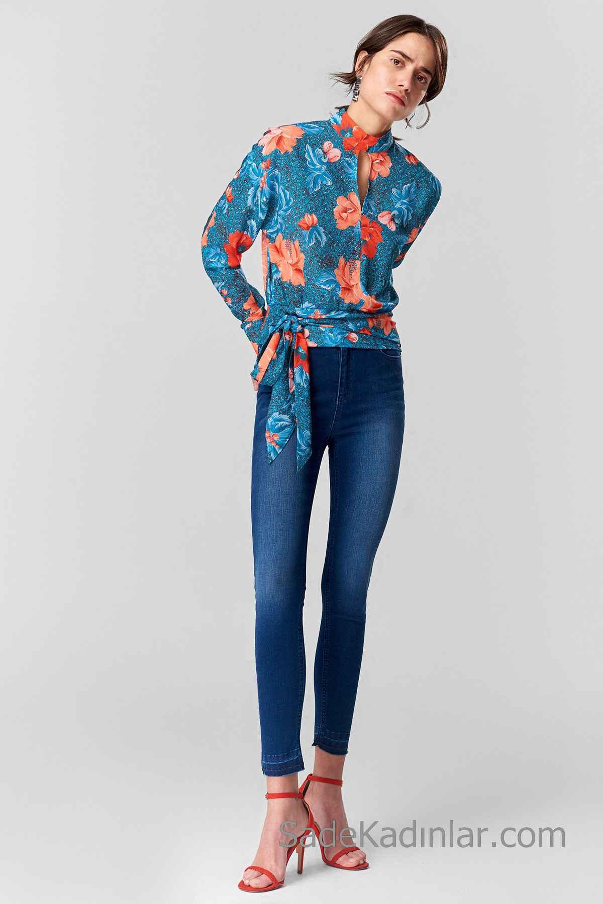 Pantolon Kombinleri Lacivert Dar Kesim Pantolon Lacivert Uzun Kollu Yandan Bağcıklı Desenli Gömlek