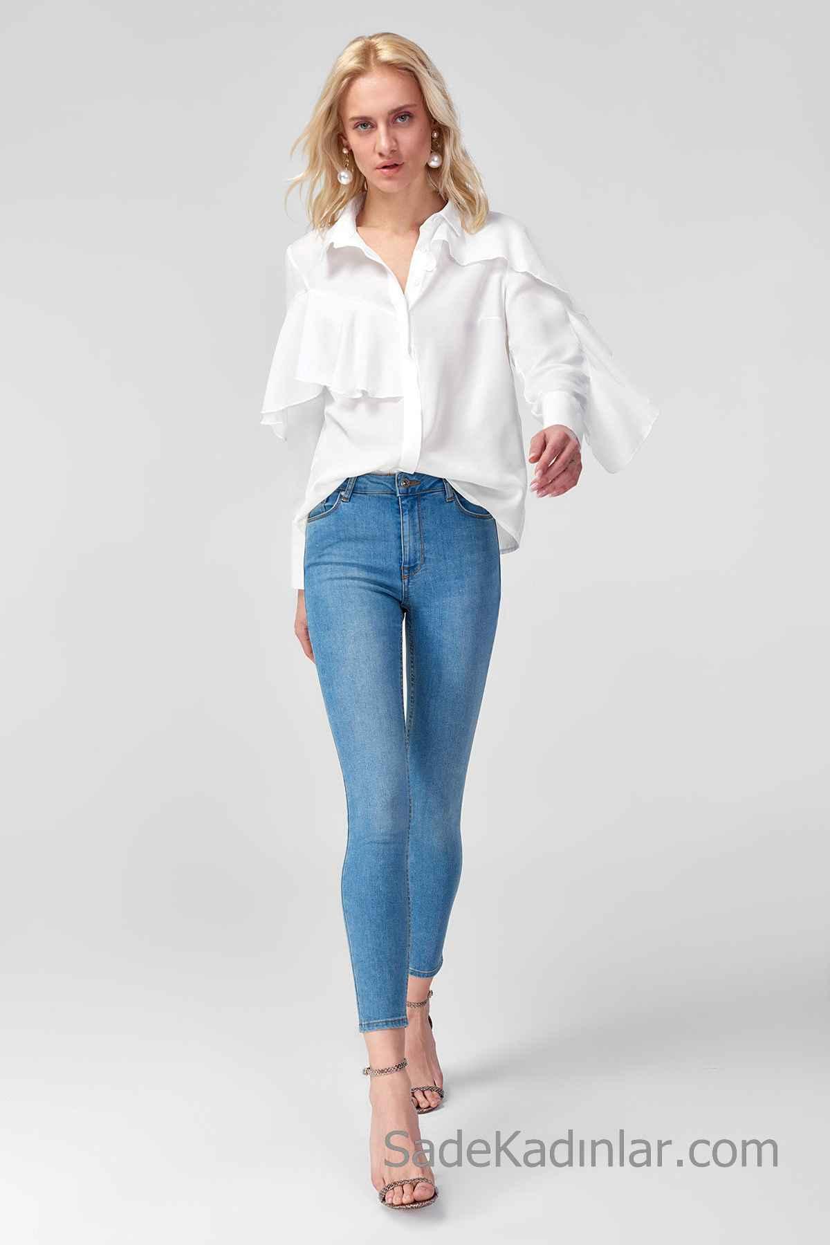 Pantolon Kombinleri Mavi Dar Kesim Pantolon Beyaz Uzun Kollu Gömlek