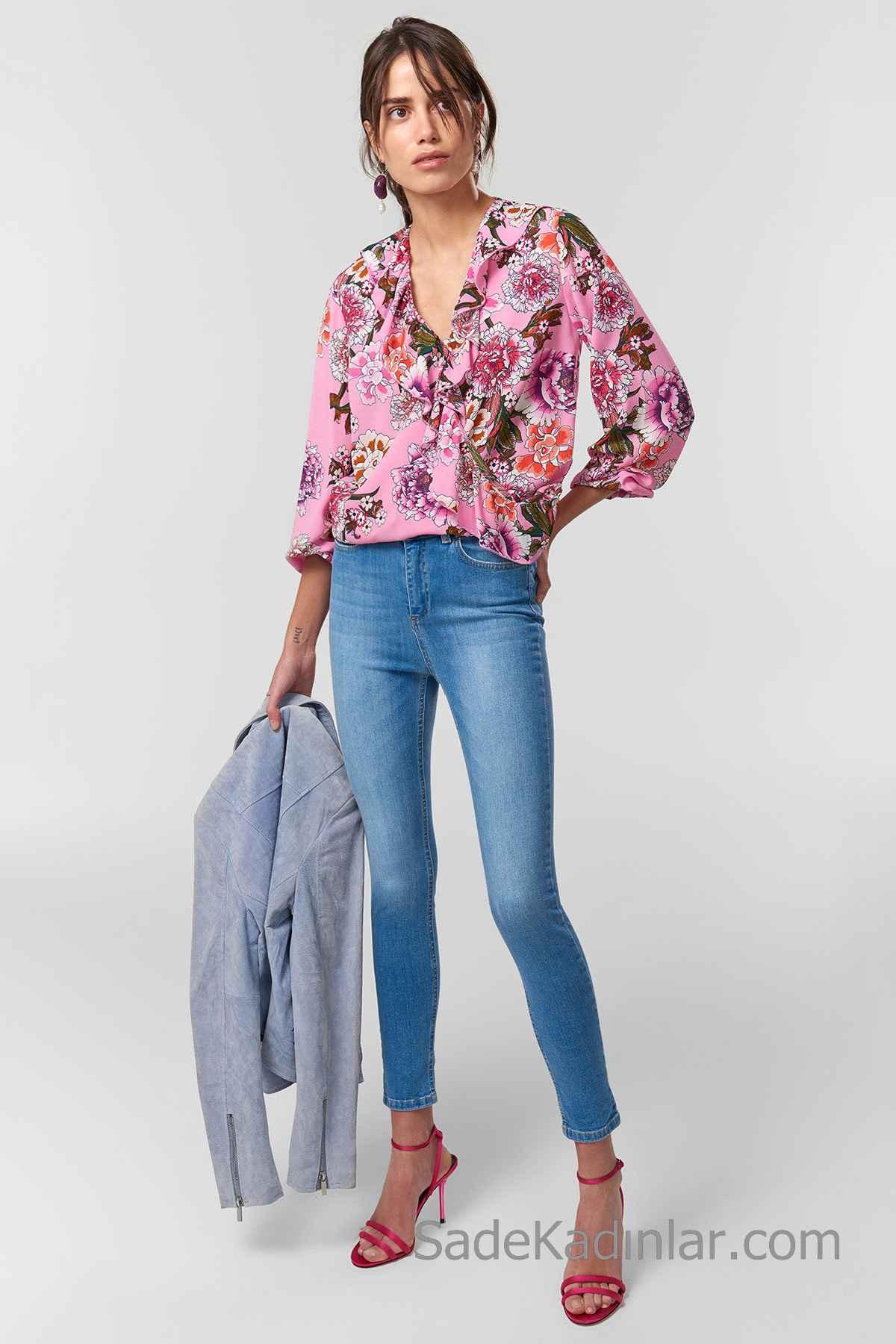 Pantolon Kombinleri Mavi Dar Kesim Pantolon Pembe Uzun Kollu V Yakalı Desenli Gömlek