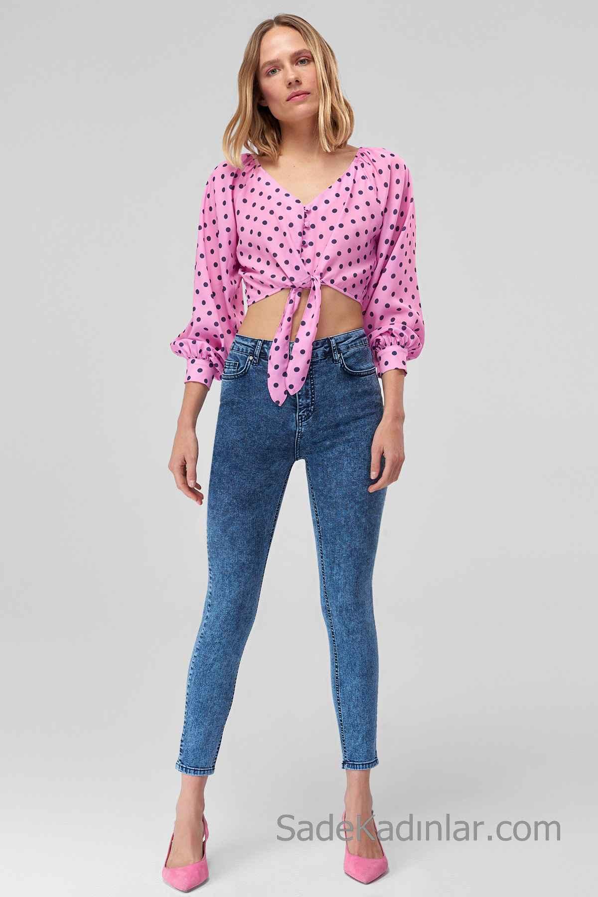 Pantolon Kombinleri Mavi Dar Kesim Pantolon Pembe Uzun kollu Önden Bağcıklı Puantiyeli Gömlek