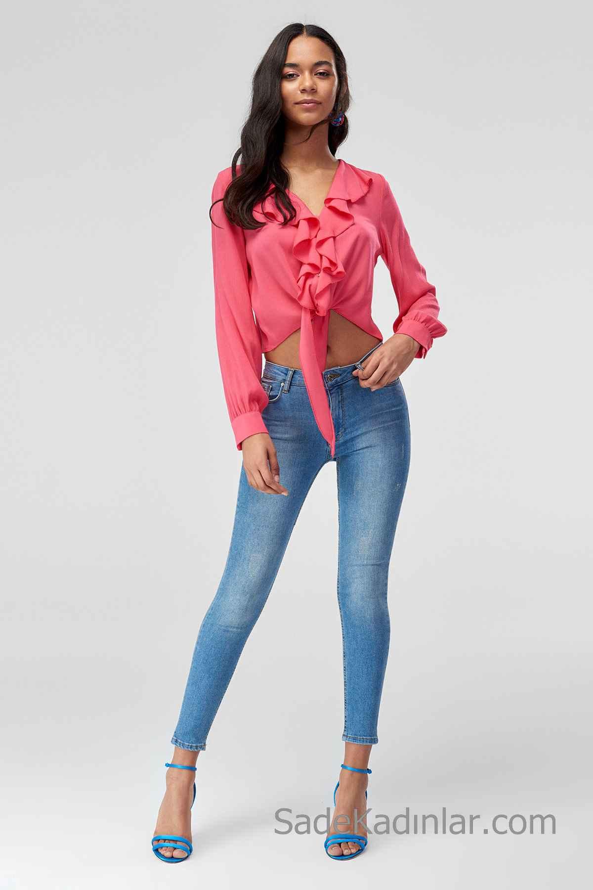 Pantolon Kombinleri Mavi Dar Kesim Pantolon Yavruağzı Uzun Kollu Kısa Fırfırlı Bağlamalı Gömlek