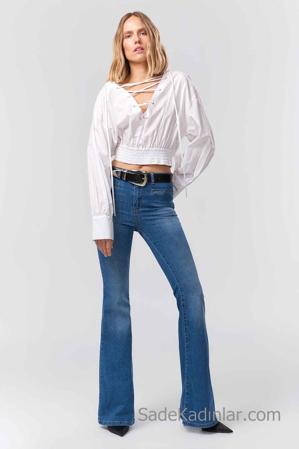 Pantolon Kombinleri Mavi Geniş Paça Pantolon Beyaz Uzun Kollu Önden Bağcıklı Büzgülü Gömlek