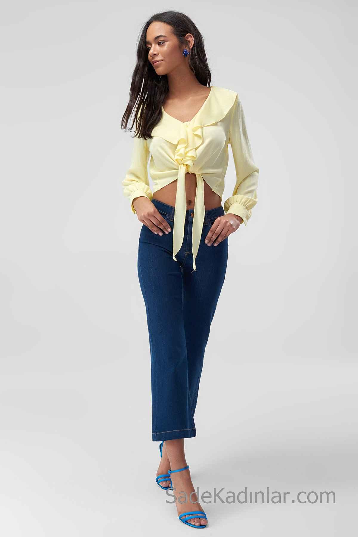 Pantolon Kombinleri Mavi Kapri Pantolon Sarı Uzun Kollu V Yakalı Bağcıklı Fırfırlı Gömlek