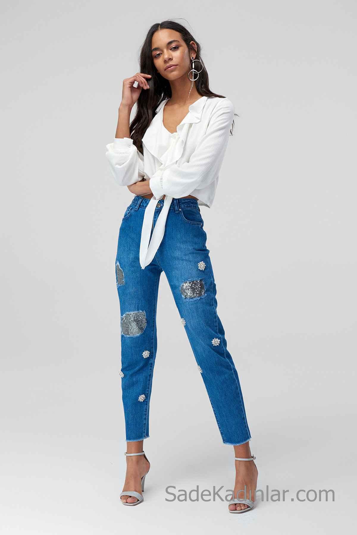 Pantolon Kombinleri Mavi Taş İşlemeli Pantolon Beyaz Uzun Kollu V Yaka Fırfırlı Gömlek