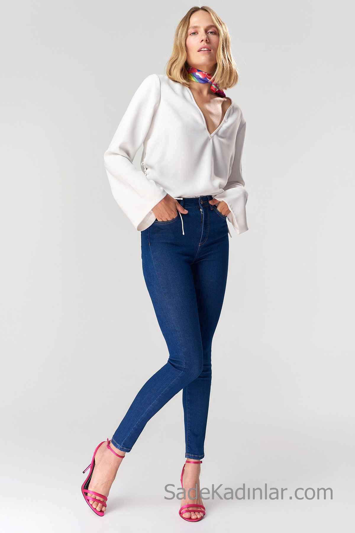 Pantolon Kombinleri Mavi Yüksel Bel Pantolon Beyaz V Yakalı Uzun Kollu Salaş Bluz