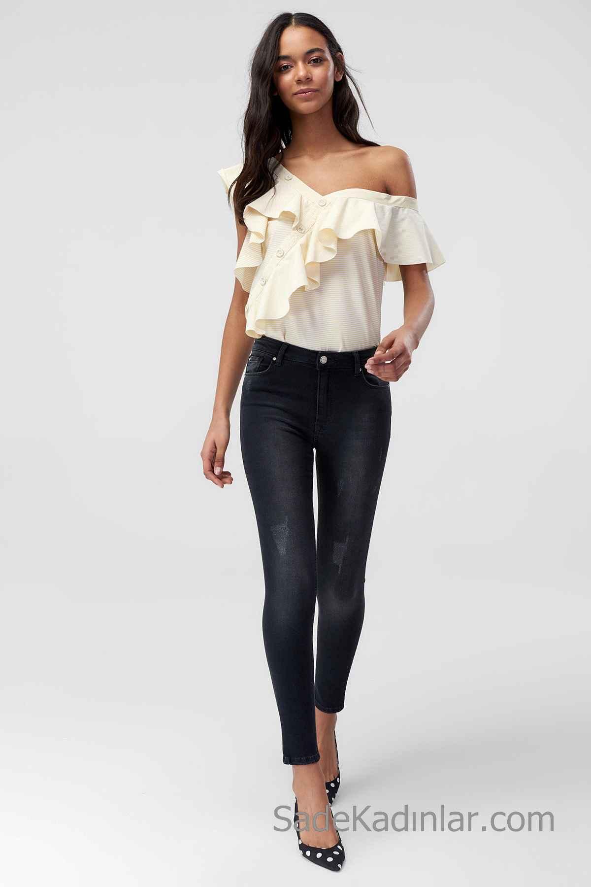 Pantolon Kombinleri Siyah Dar Kesim Pantolon Sarı Geniş V Yakalı Fırfırlı Düğme Detaylı Gömlek