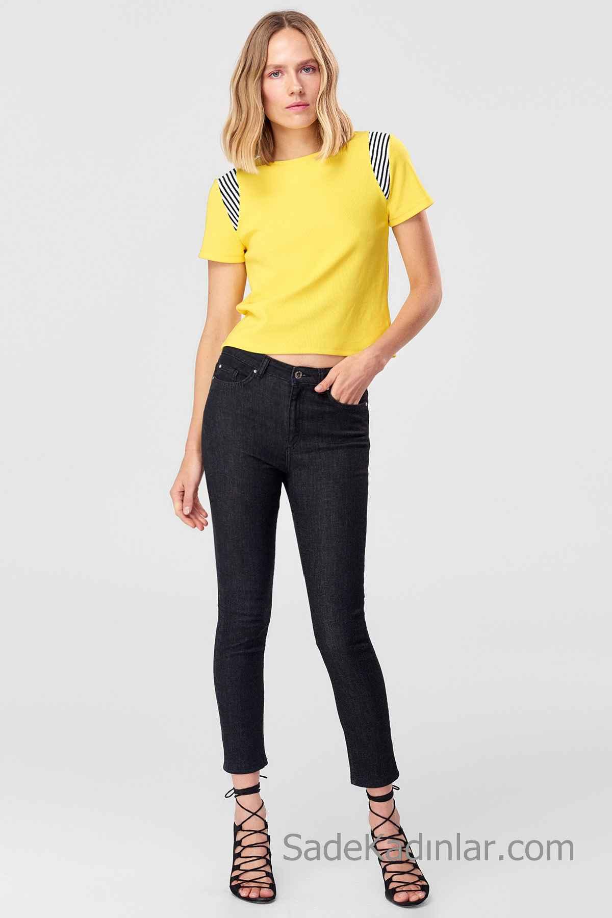 Pantolon Kombinleri Siyah Yüksel Bel Pantolon Sarı Kısa Kollu Tişört