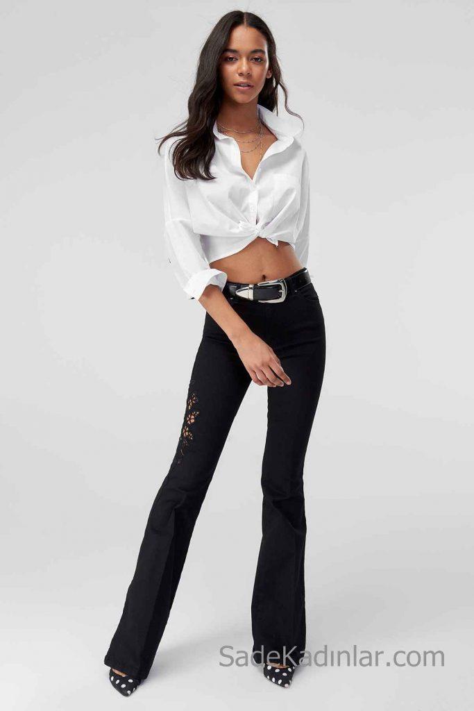 Pantolon Kombinleri Siyah İşlemeli Pantolon Beyaz Uzun Kollu Kısa Bağcıklı Gömlek