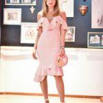 Fırfırlı Elbise Pembe Midi İp Askılı Düşük kol Kalp Yaka