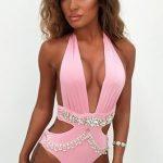 Bikini Modelleri Pembe V yaka Kristal Zincir Taş Süslemeli