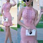 Fırfırlı Elbise Pembe kısa Halter Yaka Güpür dantel Detaylı