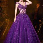 Prenses Model Abiye Mor Uzun Kolsuz Transparan Yaka İşlemeli
