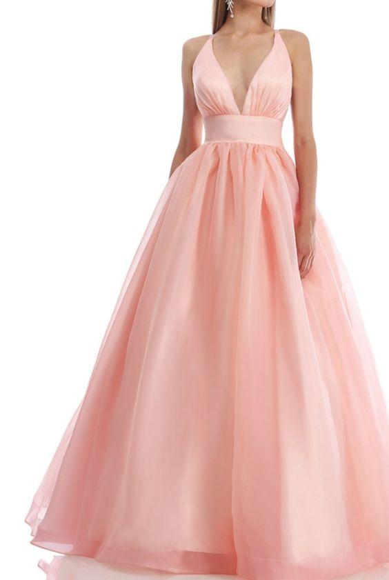 Prenses Model Abiye Pembe Uzun Askılı Derin V Yakalı Sade