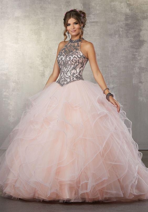 Prenses Model Abiye Pembe Uzun Halter Yaka İşlemeli Tül Katlı Etek