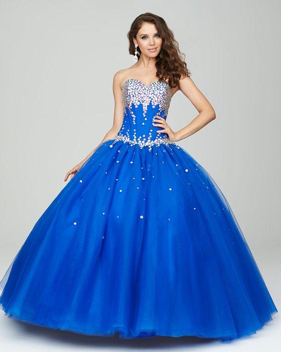 Prenses Model Abiye Saks Mavi Uzun Straplez Kalp Yaka İşlemli