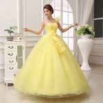 Prenses Model Abiye Sarı Uzun Tek Omuz Askılı Tül Etekli
