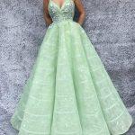 Prenses Model Abiye Su Yeşili İp Askılı Kloş Etekli Kalp Yakalı