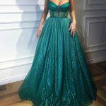 Prenses Model Abiye Yeşil Çiçek İp Askılı Kloş Etek Parlak Kumaş
