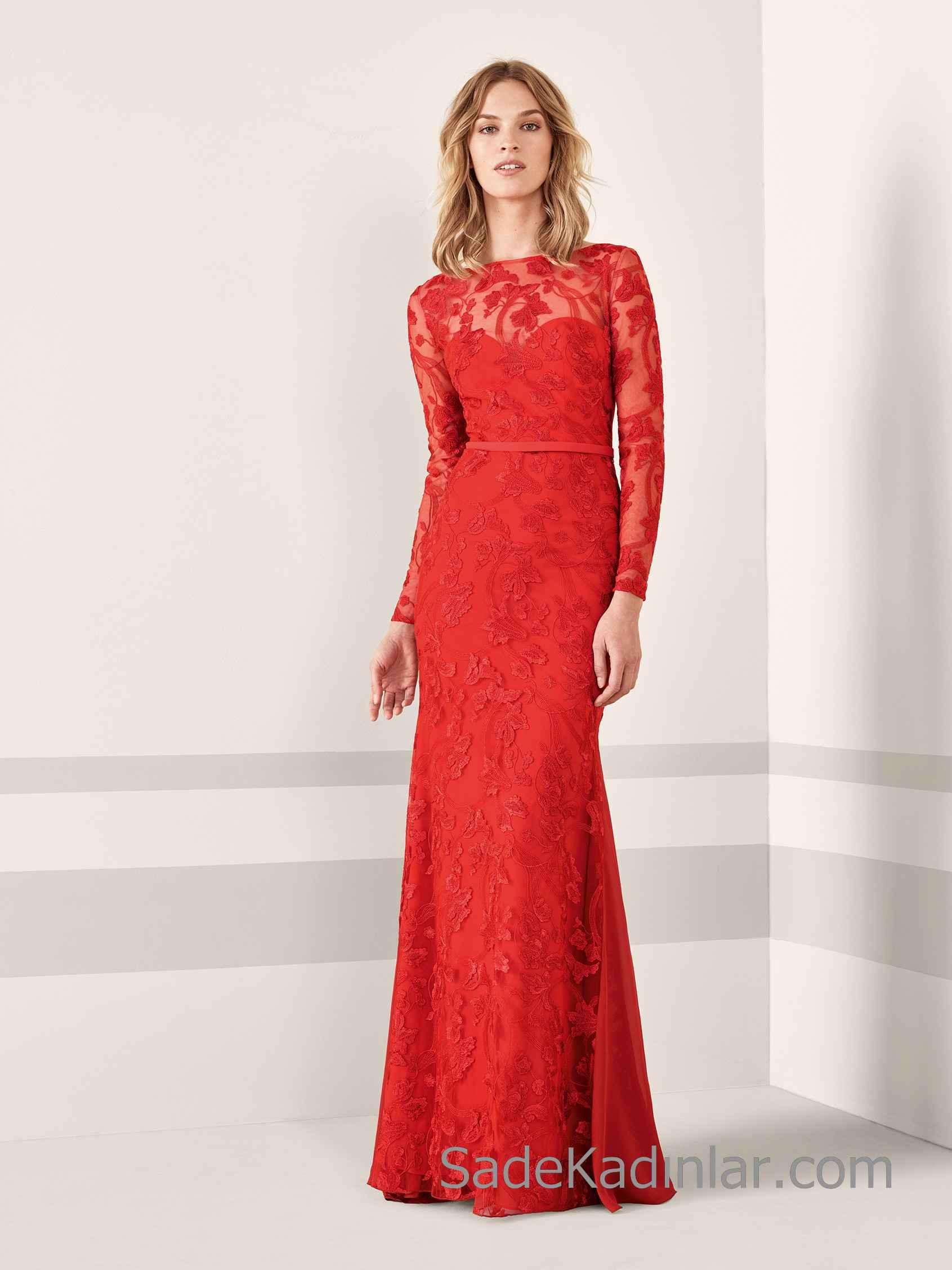 Pronovias 2020 Abiye Elbise Modelleri Kirmizi Uzun Balik Kayik Yaka Uzun Kollu Dantel Kiyafet Kombinleri