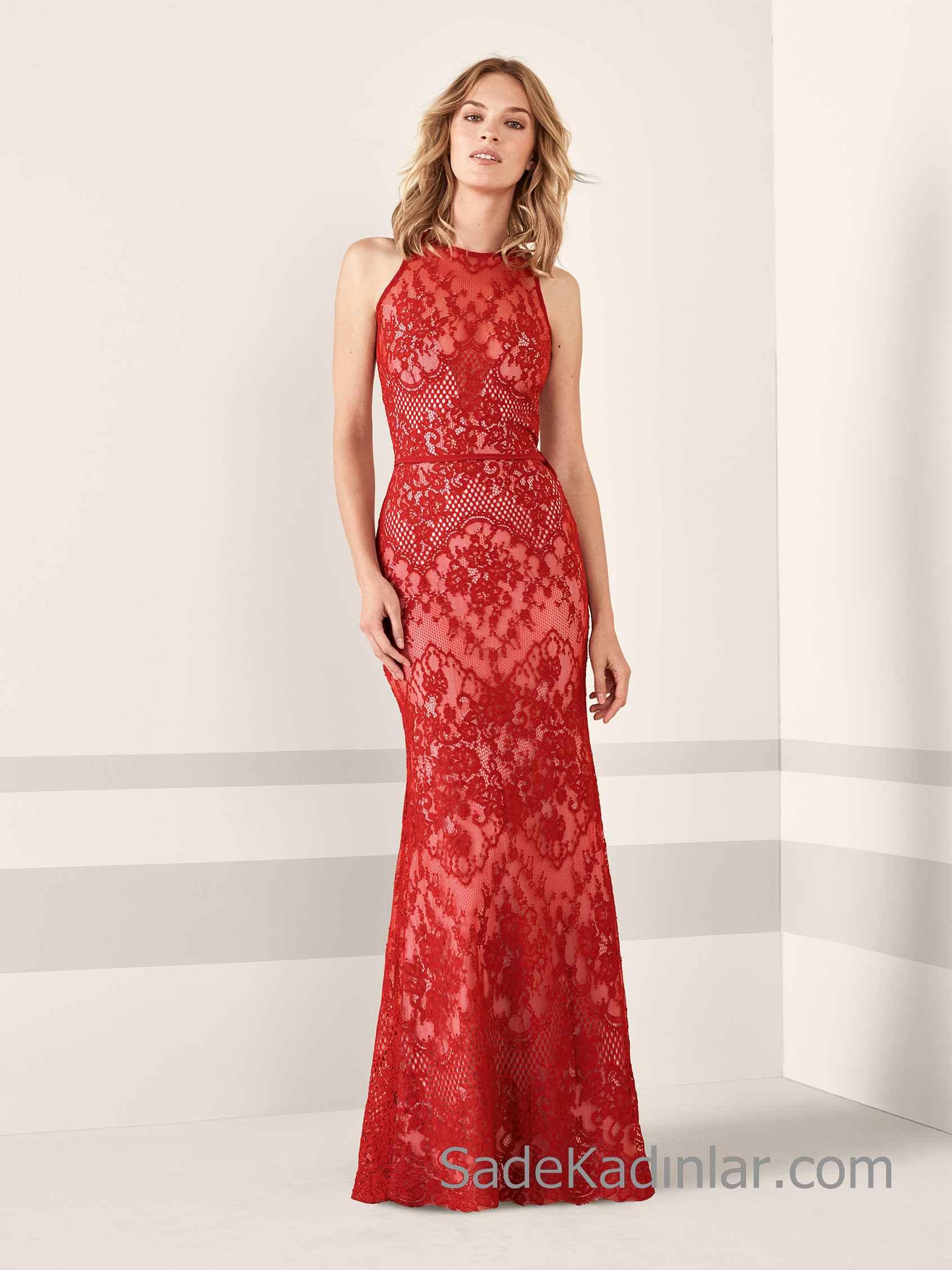 Renkli Dantelli Elbise Modelleri 2019