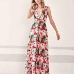 Pronovias 2019 Abiye Elbise Modelleri Pembe uzun Kolsuz Dekolteli V Yakalı Çiçek Baskılı