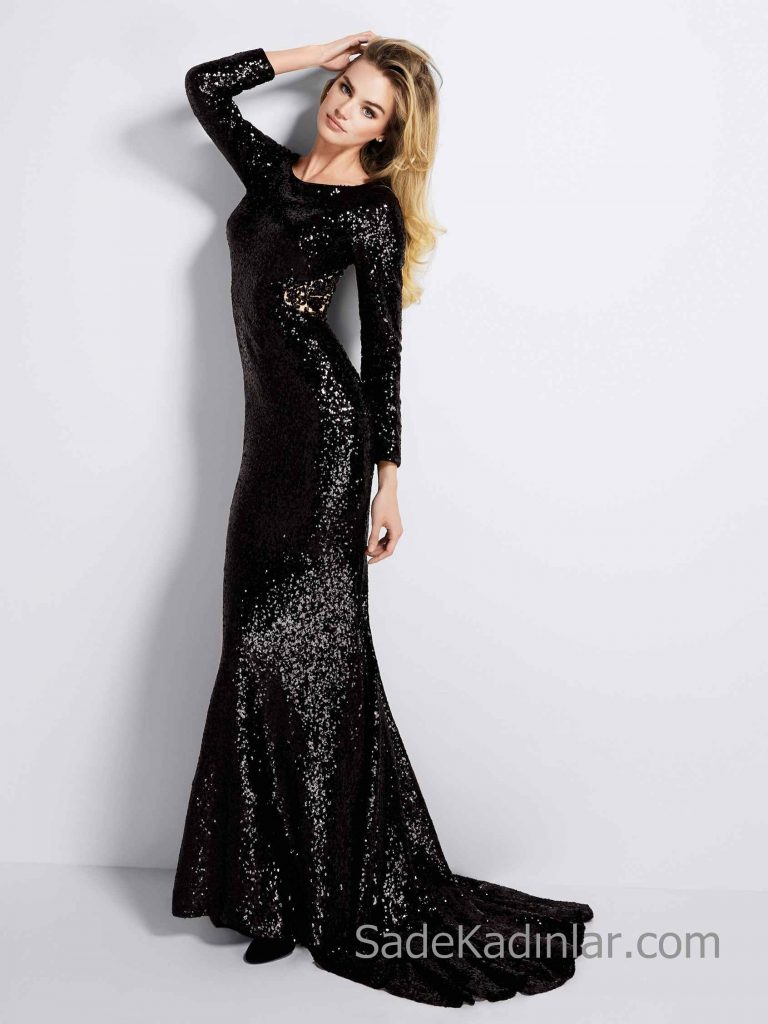 Pronovias 2019 Abiye Elbise Modelleri Siyah Uzun Balık Kayık Yaka Uzun Kollu Payetli Kuyruklu