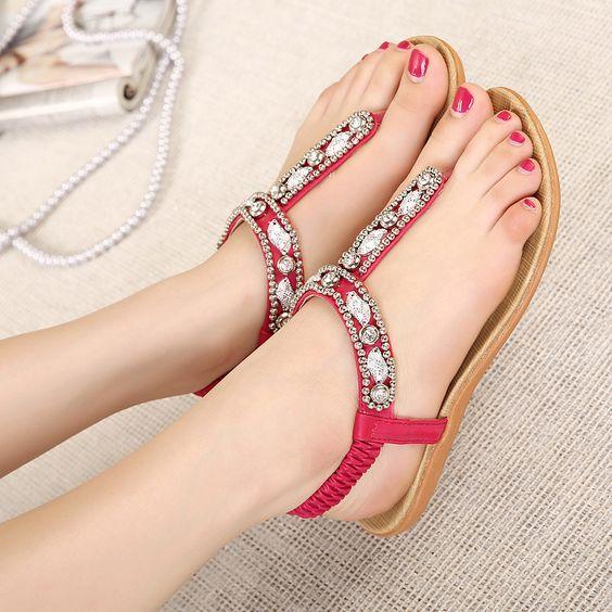 Sandalet Modelleri Bordo T Bantlı Taşlı Tokalı