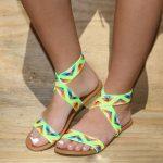 Sandalet Modelleri Neon Kalın Kemerli Desenli Lastikli