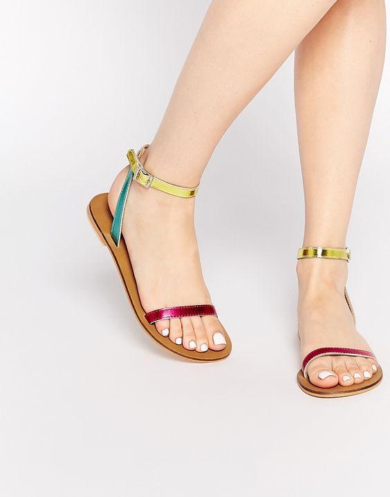 Sandalet Modelleri Pembe Sarı Yeşil Kemerli Tokalı