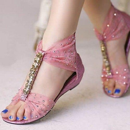 Sandalet Modelleri Pembe Tül Detaylı Taşlı