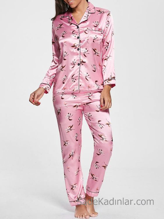 Saten Pijama Takımları Pembe Uzun Kollu Cepli Desenli