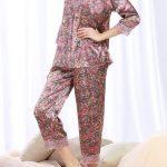 Saten Pijama Takımları Pembe Uzun Kollu Yetim Kollu Güpür Dantelli